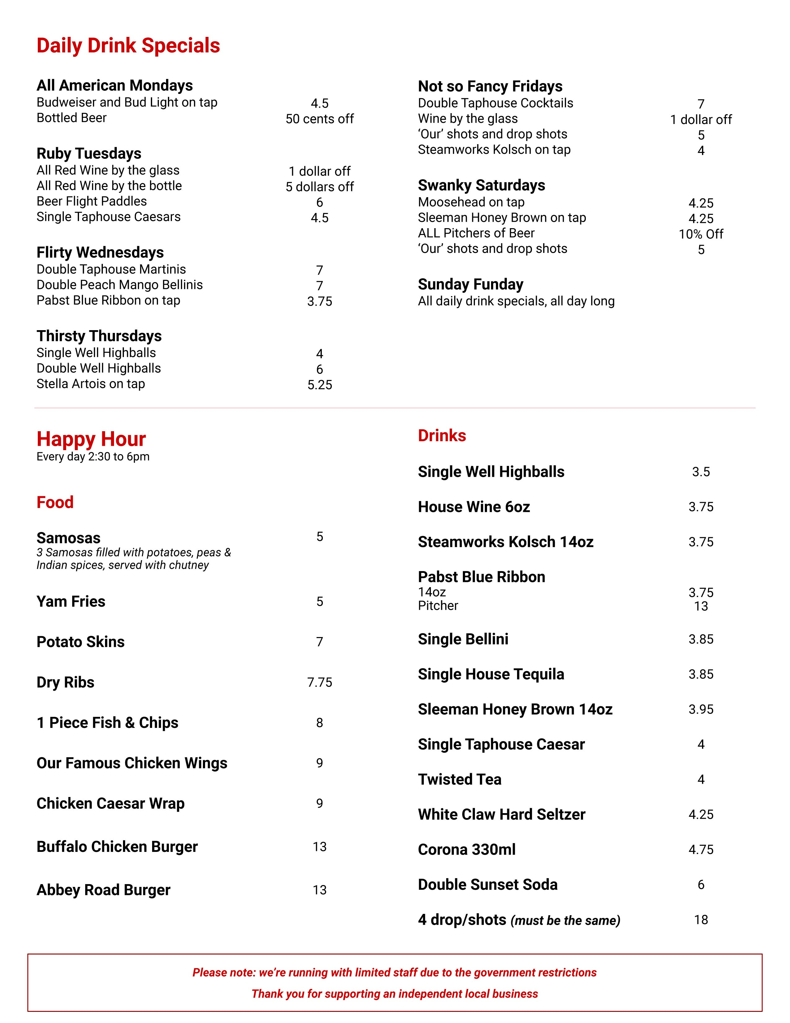 abbey road taphouse  drinks & happy hour menu